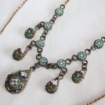 Vintage Micro Mosaic Necklace Y Drop Italy 1940s Jewelry