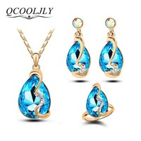 QCOOLJLY Charm Water Drop Silver Color Jewelry Sets Zirconia Colorful Crystal Pendant Necklace Earrings Ring Bridal Jewellery