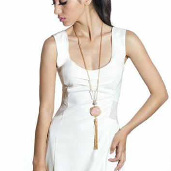 White Exposed Back Bodycon Dress
