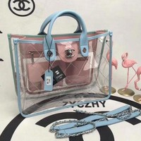 CHANEL Shopping  Handbag Tote Satchel Shoulder Transparent jelly Bag C-3A-XNRSSNB Pink