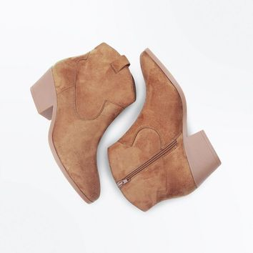Wide Fit Tan Suedette Western Boots | New Look