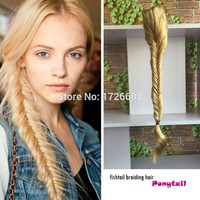 Heat resistant women thick long hairpiece golden blonde synthetic fishtail plait claw clip in ponytail and drawstring ponytails