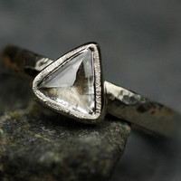 Canadian Raw Diamond in Recycled 18k Gold Engagement Ring- Custom Made to Order Rough Uncut Diamond Stone Ring