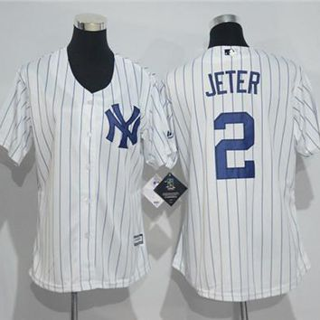 Women's New York Yankees 2 Derek Jeter Majestic Cool Base Jersey