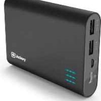 Jackery Giant+ Dual USB Portable Battery Charger & External Battery Pack for iPhone, iPad, Galaxy, and Android Smart Devices - 12,000 mAh (Black)