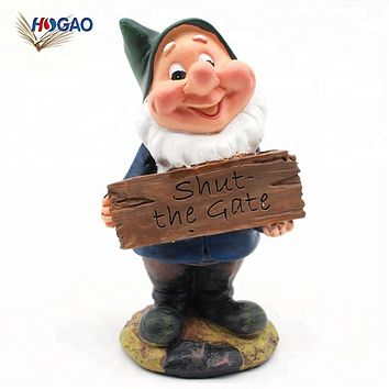 Cute Oem Cheap Funny Gate Closing Sign Resin Gnomes Statues Garden Dwarfs For Lawn Garden Decor - Buy Garden Dwarfs,Seven Dwarfs Garden Statues,Garden Seven Dwarfs Decor Product