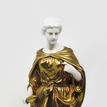 Vintage Goddess Statue Bisque Porcelain, Gold Andrea by Sadek Greek God, Hollywood Regency