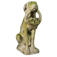 "24"" Garden Dog w/ Flower Basket, Statuary"