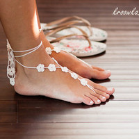 Barefoot Sandals IVORY FLOWER, ecru foot jewelry, beach wedding accessory