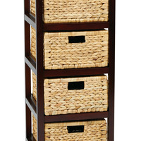OSP Designs Seabrook Four-Tier Storage Unit With Espresso Finish and Natural Baskets