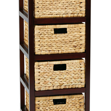Office Star Seabrook Four-Tier Storage Unit With Espresso Finish and Natural Baskets [SBK4514A-ES]
