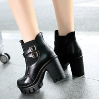 Big Size Martin Chunky Heel Double Buckle Slip On Ankle Boots