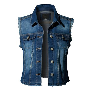 Basic Distressed Frayed Sleeveless Button Up Denim Vest with Pockets