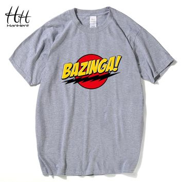 HanHent The Big Bang Theory Bazinga Tee Shirt 2016 Cotton Short-sleeve Print Funny T shirts for Men Sheldon Man's T-shirt TH0516