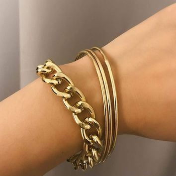 Plain Link & Bangle Bracelet 4pcs