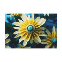 Yellow, Blue and White Floral Photography Canvas Print