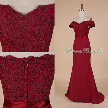 A line burgundy chiffon and lace applique long bridesmaid dress,Long chiffon mother of the bride dress,Long chiffon applique prom dress