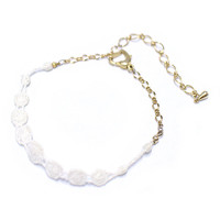 lace cord bracelet, 14K gold plated chain with white lace patterns bracelet