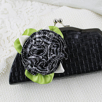 Black and White Plaid Ribbon Flower Brooch, Ribbonwork, Millinery, Floral Corsage, Gingham, Hat Flowers