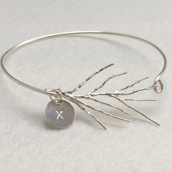 Branch bangle bracelet, Silver bangle, personalized jewelry for her, personalized bracelet, Kids children, flower girls jewelry, gift kid