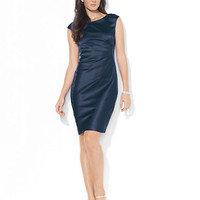 Lauren Ralph Lauren Petite Cap Sleeve Stretch Satin Dress