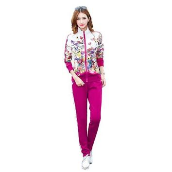 Plus Size L-5XL Tracksuit Two Piece Outfits Women Long Sleeve Top and Long Pants Autumn Fashion Floral Print Women Set Sportwear