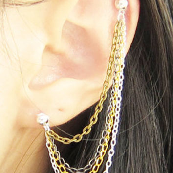 Mixed Colored Chains Cartilage Double Piercing