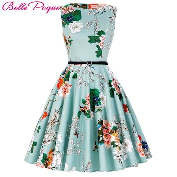 Women Summer Dress Floral Patterns 2017 Womens Clothing Audrey Hepburn Robe Retro Swing Casual 50s Vintage Rockabilly Dresses