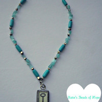 Teal Turquoise Hand Beaded Hand Made Necklace - Lock & Key - Reversible - 100% Charity Donation