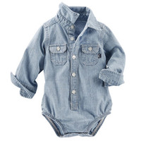 2-Pocket Chambray Bodysuit
