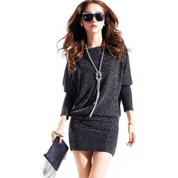 winter dress 2015 hot women dress cute casual active sexy dress wild slim Elegant long sleeve Plus size Batwing sleeve Sequins