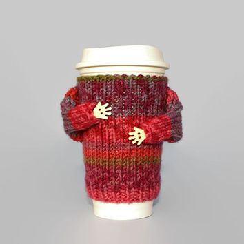 Coffee cozy. Valentine's gift for her. Mug sweater. Cup cozy. Travel mug sleeve. Tea cozy. Coffee warmer. Funny mug cozy. Cup sleeve.