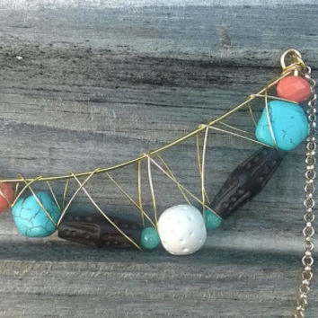 Tribal Wire Crescent Statement Necklace || Wood Bead Necklace || Chunky Turquoise Howlite || Polymer Clay
