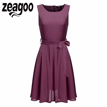Zeagoo Women Chiffon Dress Elegant High Waist Tank Dress Summer Casual Party Swing Sleeveless Dress With Belt Women's Dresses XL