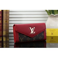 LV Fashion Women Leather Wallet Purse Red