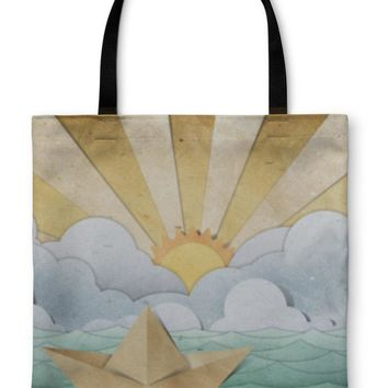 Tote Bag, Origami Paper Boat Recycled Paper Craft