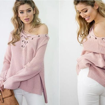 All-match chest bandage before long after short V collar sweater, sweaters