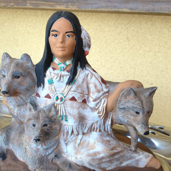 Native American Figurine Indian Princess with three Wolf Cubs , Native American Ceramic Tribal Figurine, Native Clay Figurine, Tribal Navajo