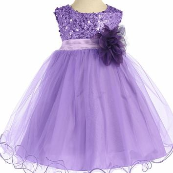 Baby Girls Lavender Sequin Party Dress w. Lettuce Tulle Hem 3-24m