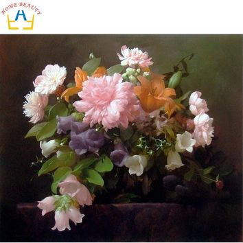 Digital oil paint by number painting by numbers diy hand painted picture can canvas drawing coloring wall craft flowers J058