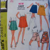 51% OFF Mini Skirt and Culottes - 1970s Vintage McCall's Sewing Pattern 2348 - Size 12 Waist 25 1/2