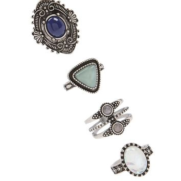 Boho Faux Gem Ring Set