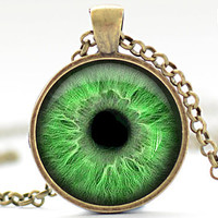 Bright Green Eye Necklace, Third Eye Jewelry, Evil Eye Charm, Eyeball Pendant (932)
