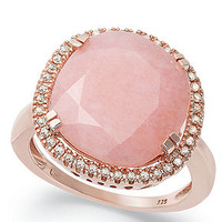 14k Rose Gold over Sterling Silver Ring, Pink Opal (4-3/4 ct. t.w.) and Diamond (1/5 ct. t.w.) Ring - Rings - Jewelry & Watches - Macy's