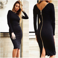 Sexy Night Club Bodycon Dress Full Sleeve Back Zip Closure Slim Fit Autumn Dress = 5738810433