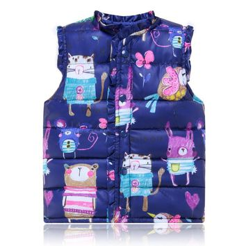 J58 Spring Autumn Kids Down Coat Girls Vest Cotton Warm Vest Children Painting Waistcoat Cartoon Coats