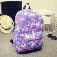 Purple Palm Tree Printed Canvas Backpack