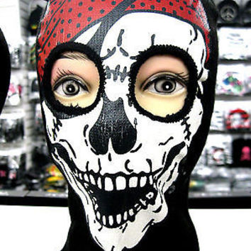 Beanie Full Face Skull face mask red bandana costume party halloween attire-New!
