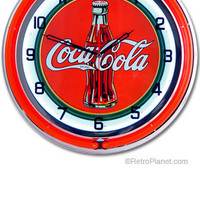 Coca-Cola ® Neon Clock: Coca Cola Game room Clocks RetroPlanet.com