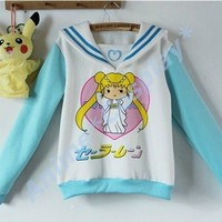 Sailor moon harajuku Mercur sweater coats cosplay costume top fake uniform Cute